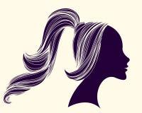 美丽的女孩画象,与长,波浪发和马尾辫发型 也corel凹道例证向量 库存例证