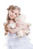 美丽的女孩的图象有玩具熊的 库存照片