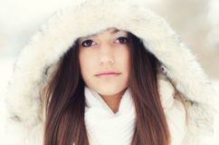 美丽的女孩的画象冬天风景的 免版税库存图片