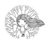 年轻美丽的女孩神仙、鹿、鸟和树 免版税库存图片
