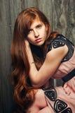 美丽的女孩红发肉欲 免版税库存照片