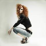 美丽的女孩红头发人 免版税库存图片