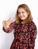 美丽的女孩纵向年轻人 美妙地微笑 轻黑暗的肤色 库存图片