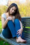 美丽的女孩纵向 图库摄影