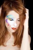 美丽的女孩组成红头发人 免版税库存图片