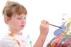 美丽的女孩绘画年轻人 库存图片