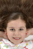 美丽的女孩美丽的头发画象  免版税库存照片