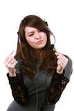美丽的女孩耳机 免版税图库摄影