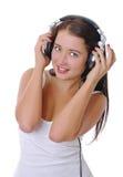 美丽的女孩耳机 免版税库存图片