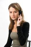 美丽的女孩耳机 免版税库存照片