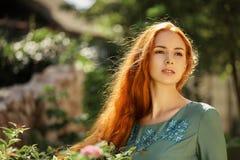 美丽的女孩艺术画象有长的红色头发的 库存照片