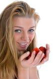 美丽的女孩草莓 库存图片
