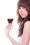 美丽的女孩葡萄酒杯 免版税库存图片
