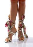 美丽的女孩行程鞋子 免版税库存图片