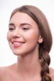 美丽的女孩表现出不同的情感 免版税库存照片