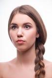 美丽的女孩表现出不同的情感 库存照片