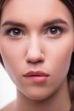 美丽的女孩表现出不同的情感 图库摄影