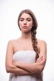 美丽的女孩表现出不同的情感 免版税图库摄影