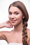 美丽的女孩表现出不同的情感 免版税库存图片