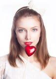 美丽的女孩,红色重点-华伦泰s日 库存图片