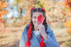 美丽的女孩-五颜六色的秋天画象 库存照片