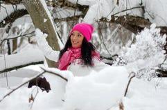 美丽的女孩 弗罗斯特,冬天 库存图片