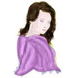 美丽的女孩-水彩画象 库存图片