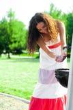美丽的女孩洗手 库存图片