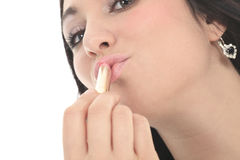 美丽的女孩绘有唇膏的嘴唇 beauvoir 免版税库存图片