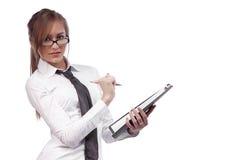 美丽的女孩玻璃秘书 免版税库存照片