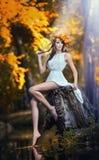 美丽的女孩画象在森林里。有神仙的神色的女孩在秋季射击。有秋季的女孩组成和发型 库存图片