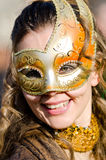 美丽的女孩画象狂欢节队伍的在广场圣Marc 图库摄影