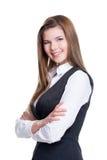 美丽的女实业家用横渡的手。 免版税图库摄影