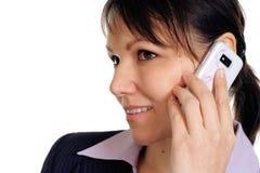 美丽的女实业家白种人移动电话 免版税图库摄影