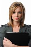 美丽的女实业家纵向 免版税库存照片