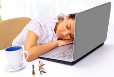 美丽的女实业家,睡着 库存照片