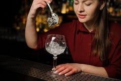 美丽的女性男服务员放冰块入的制玻璃 库存照片