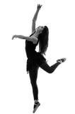 美丽的女性跳芭蕾舞者剪影  免版税库存照片