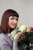 美丽的女花童年轻人 免版税库存图片
