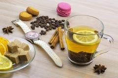 美丽的女表 切片柠檬和桔子在茶碟 托起柠檬茶 咖啡豆,曲奇饼蛋白杏仁饼干 并且片断 库存照片