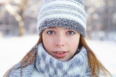 年轻美丽的妇女。冬天画象。 免版税图库摄影