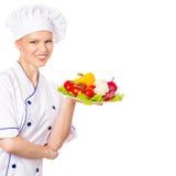 美丽的妇女厨师 图库摄影
