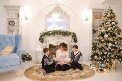 美丽的妇女和有同情心的母亲有两名男孩exchang的 库存图片