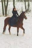 美丽的妇女和马在冬天 库存图片