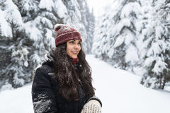 年轻美丽的妇女在冬天雪森林女孩户外走的雪白色公园 库存照片