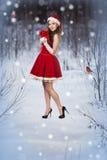 美丽的妇女在圣诞老人礼服 库存图片