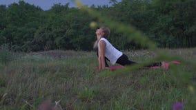 美丽的妇女在城市公园花费瑜伽锻炼 股票录像