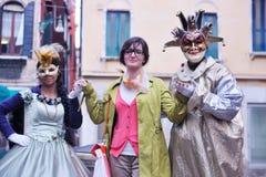 美丽的妇女在威尼斯 库存照片