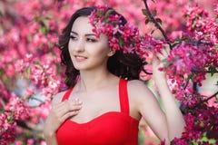 美丽的妇女在有桃红色花的一个公园 免版税库存图片