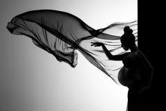 美丽的妇女在有流动的织品的演播室 图库摄影